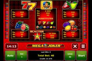 Mega Joker Mobile Slot Paytable