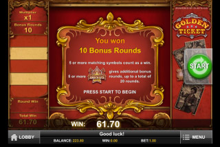 Golden Ticket Mobile Slot Bonus Rounds Win
