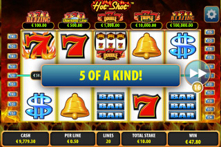 Hot Shot Slot 5 of a Kind Win