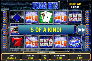 Vegas Hits Mobile Slot 5 of a Kind Win