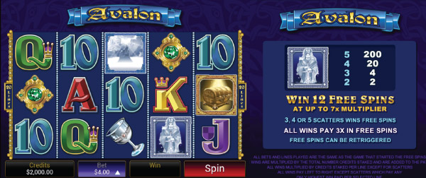 Avalon Mobile Slot Screenshot With Multipliers & Scatters