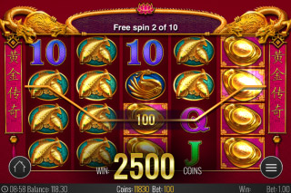 Golden Legend Mobile Slot Free Spins Win