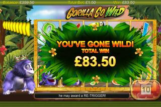 Gorilla Go Wild Mobile Slot Bonus Win