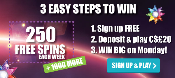 Win 250 Free Spins Each Week + 1000 More