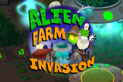 Alien Farm Invasion Mobile Slot Logo