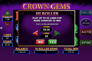 Crown Gems Mobile Slot Hi Roller Feature