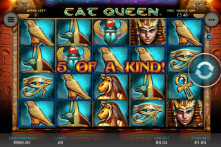 Cat Queen Mobile Slot Five Of Kind Win