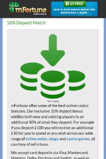mFortune Mobile Casino Deposit Bonus