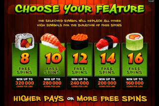 So Much Sushi Mobile Slot Free Spins Select