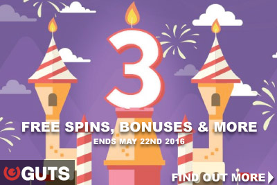 Celebrate GUTS 3rd Birthday With Casino Free Spins & Bonuses
