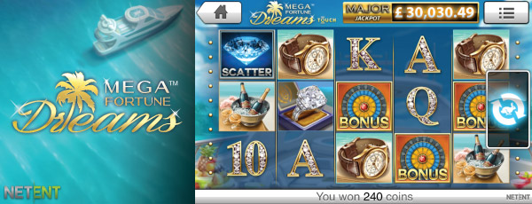 Mega Fortune Dreams Mobile Slot Reels
