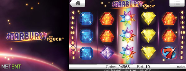 NetEnt Starburst Touch Mobile Slot Screenshot