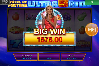 Wheel of Fortune Ultra 5 Reels Mobile Slot Big Win