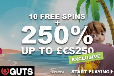 Use Guts Mobile Casino Bonus Code: Lucky 250