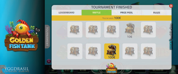 Golden Fish Tank Tournament Raffle Example