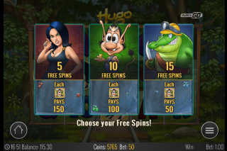 Hugo Mobile Slot Free Spins Select