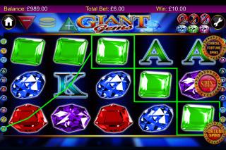 Giant Gems Mobile Slot Reels