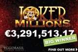 Yggdrasil Joker Millions Jackpot Slot Win of Over €3.3 Million