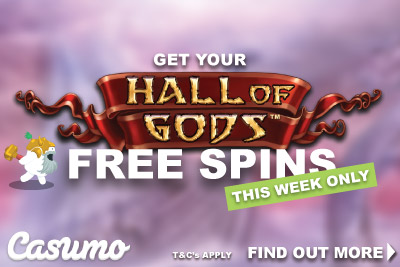 Get Your Casumo Free Spins On Hall of Gods This Week