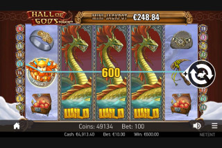 Hall of Gods Mobile Slot Expanding Wilds