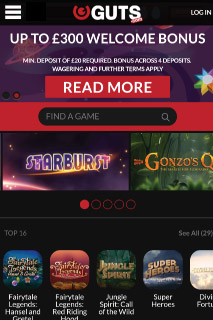Guts Casino Lobby Mobile