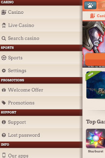 Leo Vegas Mobile Casino Menu Option