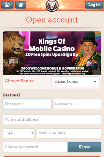 Leo Vegas Mobile Casino Sign Up Form