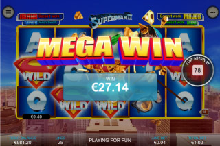 Superman II Mobile Slot Mega Win