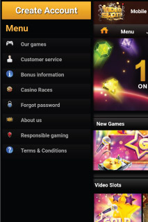 VideoSlots Mobile Casino Menu Options