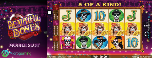 Microgaming Beautiful Bones Mobile Slot Machine