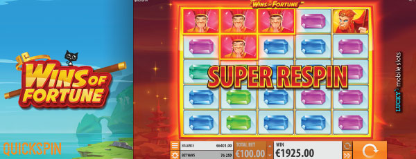 Quickspin Wins of Fortune Slot Machine Super Respin