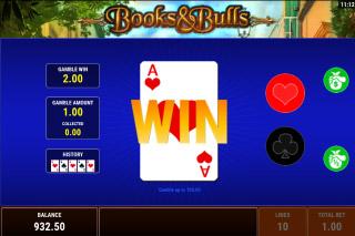 Books & Bulls Mobile Slot Gamble Feature