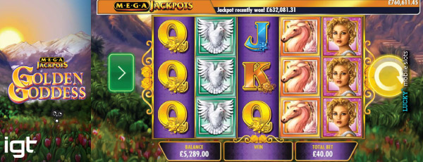 MegaJackpots Golden Goddess Stacked Symbols
