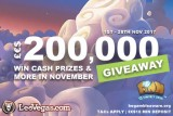 Play In The Leo Vegas 200K Cash Giveaway This November