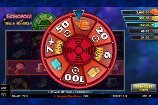 Monopoly Mega Movers Slot Bonus Wheel
