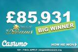 Casumo Mega Fortune Dreams Big Winner