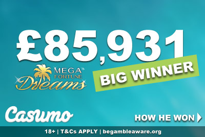 Casumo Mega Fortune Dreams Big Winner