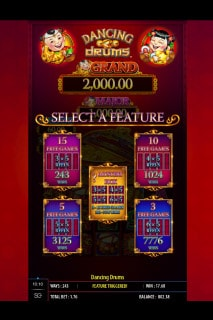 Dancing Drums Slot Bonus Feature Select