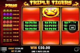 Triple Tigers Slot Bar Win