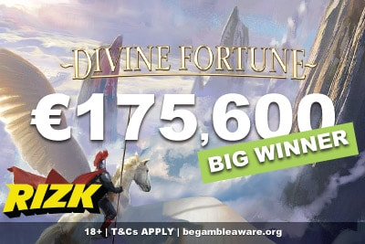 Rizk Casino Player Wins NetEnt Divine Fortune Slot Jackpot
