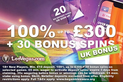 Get Your New LeoVegas UK Casino Bonus of up to £300 + 50 Bonus Spins