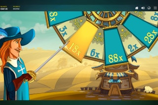 Three Musketeers Mobile Slot Bonus Wheel