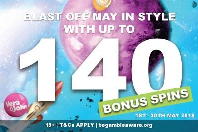 Get Up To 140 Vera&John Casino Bonus Spins In May