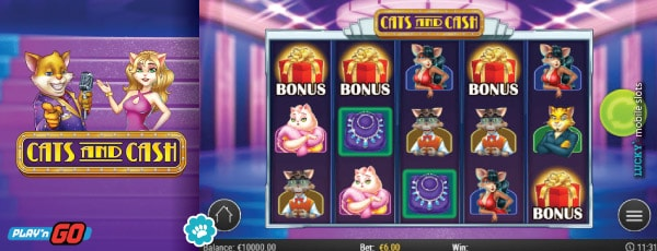 Cats And Cash Mobile Slot Base Game Reels