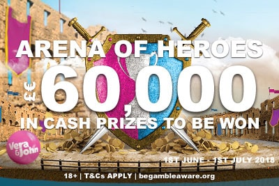 £€60,000 In Cash Prizes In Vera&John Casino Tournaments