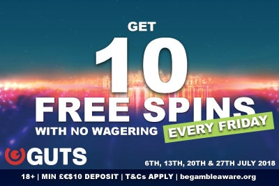 Get 10 Free Spins Bonus At Guts With No Wagering Every Friday