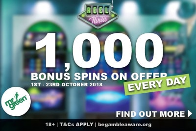 1,000 Bonus Spins On Offer Every Day In Mr Green Casino Reel Thrills