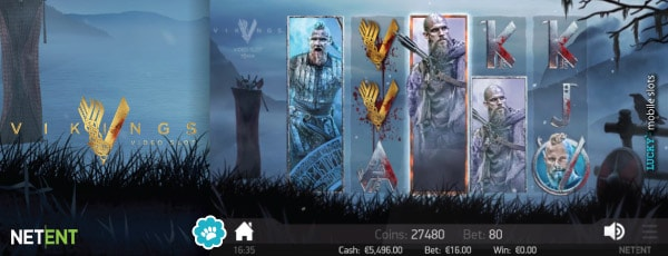 NetEnt Vikings Mobile Slot Machine Base Game