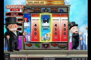Monopoly 250K Mobile Slot Railroad Bonus Win