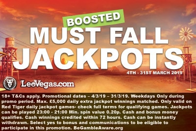 LeoVegas Casino Boosted Must Fall Jackpots